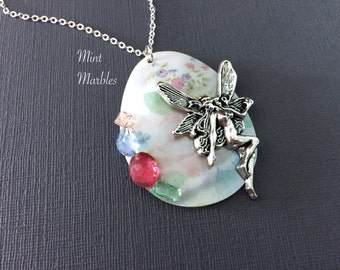 Fairy Seashell Necklace. Pastel Floral Shell. Vintage Glass. Abalone. Shells. Under 30. Silver Fairy. Pink. Green. Vintage Style Fairy Gifts