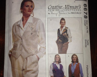 Misses Reversible Vest, Pin And Cinch McCalls Sewing Pattern 6678 90s Size 16-18
