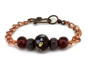 Copper Lampwork Bracelet - Plum Purple and Butter Yellow on Copper, Glass Beaded Bracelet