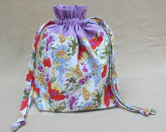 Knitting Project Bag, Small Knitting Drawstring Bag, Sock Project Bag