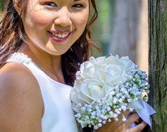 White Rose Bouquet- Real Touch Wedding Bouquet, Garden Bouquet, White Wedding Bouquet- Made To Order- SOLD