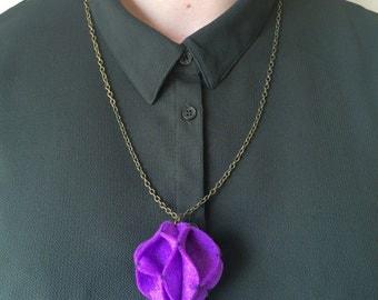 Purple Felt Pom Pom Statement Necklace