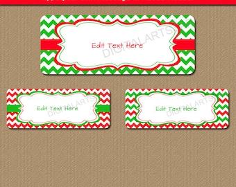 Printable Christmas Address Labels, EDITABLE Holiday Address Labels, Xmas Return Address Label Template, Red Green Christmas Gift Tags C4