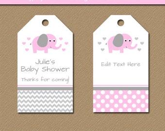 Printable Baby Shower Hang Tags  EDITABLE Elephant Tags