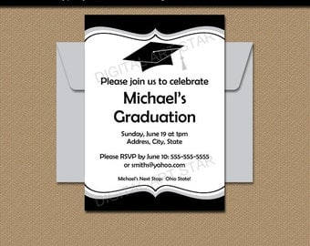 Black and White Graduation Invitation, Printable College Graduation Party Invitation Template, EDITABLE PDF, Class of 2017 Invites G1