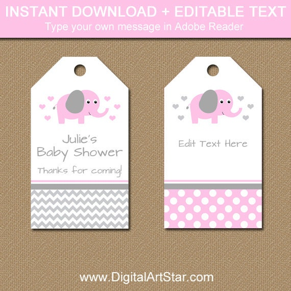 Pink Elephant Baby Shower Tags - Editable Baby Shower Hang Tags ...