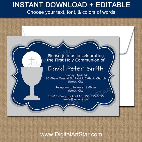 First Communion Invitation Template - EDITABLE First ...