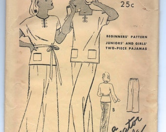"1930's Butterick Pajama Set with Short Kimono Sleeve - Breast 30"" - no. 6051"