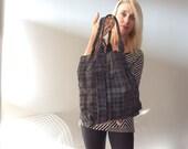 Velvety Plaid Stephane Verdino unisex nubuck leather book bag, FRANCE, tote, vintage style
