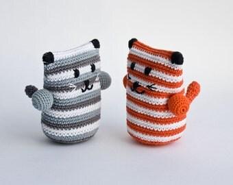 Kitty Rattle (1 pc), handmade crochet baby toy, sensory toy, baby shower gift - FrejaToys