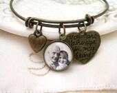 Custom Photo Charm Bracelet Always in My Heart Memory Brass Bracelet Bronze Bangle Bracelet ADD Angel Wing, Princess Crown, Heart Charm