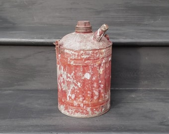Vintage Red Gas Can - 1 Gallon Galvanized Gas Can - Wood Handled Fuel Container - Nesco Gasoline Can