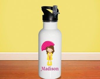 April Showers Kids Water Bottle - April Showers Girl Umbrella with Name, Child Personalized Stainless Steel Bottle BPA Free Back to School
