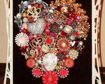 Vintage Jewelry Framed Heart ~ ALL MY LOVE ~ Jewelry Heart ~ Chalk Paint Frame ~ ooak Heirloom Keepsake