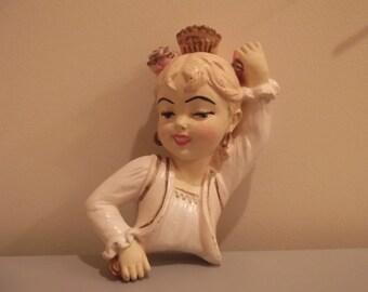 Pink Flamenco | Vintage Mid Century Modern Carnival Chalkware Plasterware Art Wall Plaque | Pin Up Girl Lady Woman Dancer | CAP Bossons