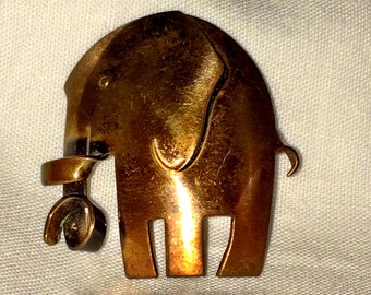 ORB Signed Copper Elephant Brooch Vintage