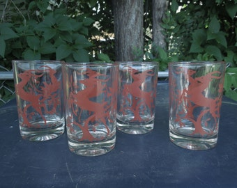 "Vintage Drinking Glasses Red Antelope Gazelle Deer Set of Four Juice 3  3/4"" Tall Retro Mid Century Barware"