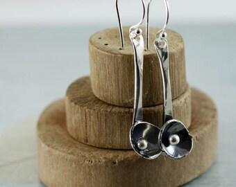 Rustic Spoon Earrings in Sterling Silver
