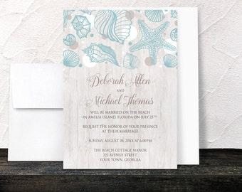 Beach Reception Only Invitations - Seashell Whitewashed Wood Post Wedding Reception Invitations - Modern Rustic Beach Seashells - Printed