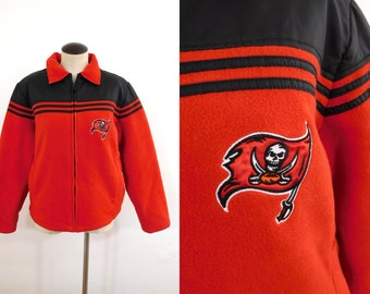 Vtg Tampa Bay Buccaneers NFL Football Lady Fleece Zip-Up Long Sleeve Embroidered Logo Vintage Sports Fan Jacket Red Black 90s / Womens Large