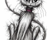 Bingo the cat Print A4 size image picture Cheeky looking pet kitty puss pussy Long tail Cute face Cartoon sketch printed on paper Pet gifts