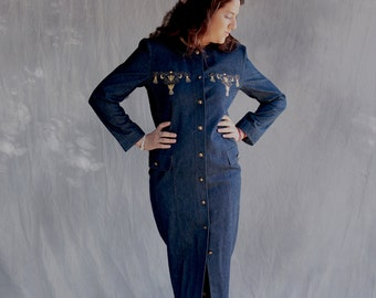 LUCIEN DAUNOIS Design, Women's Dark Blue Coat, Denim Dress, Maxi Dress, Long Sleeves, Front Embroidered in Gold, Vintage Dress, Retro Dress