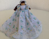 """Vintage cute clothes wood pin doll eyelet fabric country girl 5.5"""""""