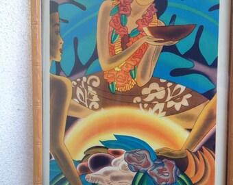 "Vintage Hawaiian print ""The Luau"" Frank McIntosh bamboo wood frame"
