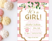 Pink and Gold Baby Shower Invitation - Gold Glitter invitation - It's A Girl - Girl Baby Shower - Floral Baby Shower Invitation Printable