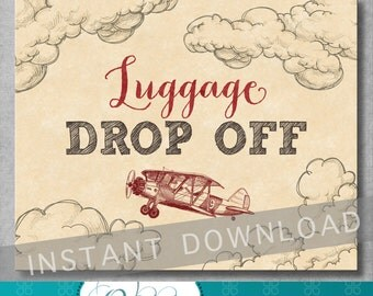 Luggage Drop Off Sign - 8x10 inches - Gifts Sign - Vintage Airplane Baby Shower - Birthday - Red - Digital - Printable - INSTANT DOWNLOAD