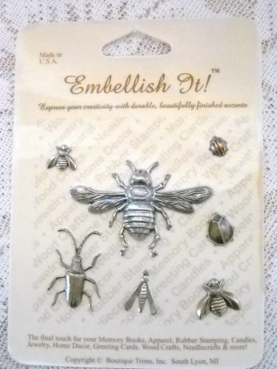 Metal Insect Embellishments 7 Metal Insects Craft Supplies