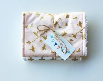 Peach Gold White Plus and Birds, Baby Girl Burp Cloths, Gift Set of 2, Free Shipping, Metallic Glitter Cross Modern Nursery Shower Gift