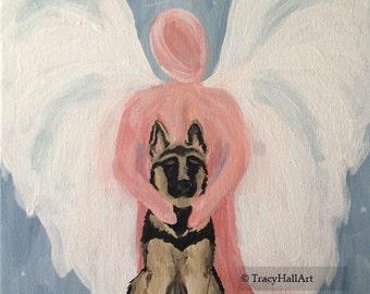 "German Shepherd Painting Pet Remembrance Art Memorial Gift Guardian Angel Art Canvas 9"" x 12"""