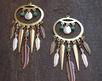 Dreamcatcher Earrings Native American Jewelry Metal Statement Earrings Bohemian Earrings Turquoise Gypsy Jewelry Tribal Spike Earrings Boho