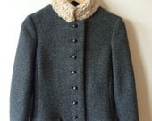 Vintage Cuddlecoat Wool Collar Grey Wool Short Coat Womens Small Gift for Her 1960s Mod
