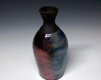 Raku Pottery - Into the Blue - Handmade Pottery - Mini Vase