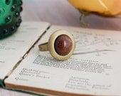 Brown Goldstone Brass Locket Ring Gemstone Ring