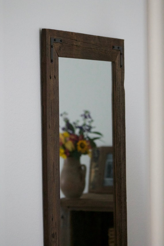 Original Reclaimed Wood Mirror Bathroom Mirror Brown Streaky Wood Frame Rustic