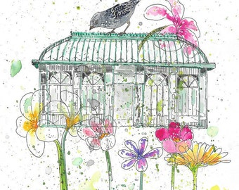 Victorian Glasshouse with Bird and Flowers - Print of Original Pen and Watercolor Art