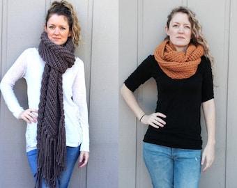 2 Crochet Patterns: Infinity Scarf cowl, super bulky chunky yarn, DIY, easy crochet P D F, scarf, cowl, Marissa Cowl & Chevron Scarf