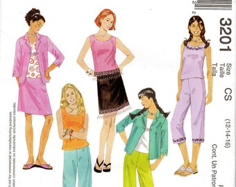 "Girls' Shirt-Jacket, Top, Cropped Pants & Skirt Pattern - Size 12, 14, 16 Bust/Breast 30"", 32"", 34"" - McCall's 3201 uncut"