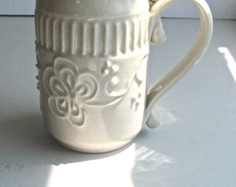 Vintage Studio Pottery, Porcelain Pitcher, Slip Decorated, Delicate White Floral, Signed by Kirin