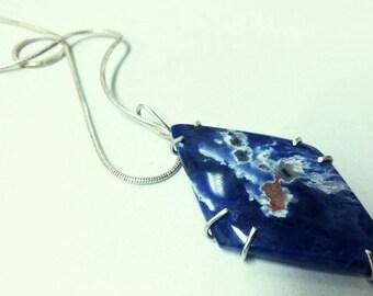 Rare sodalite necklaces, silver sodalite necklaces