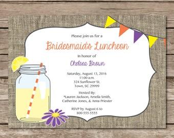 Bridesmaid Luncheon Shower Invitation Burlap Rustic Shower Wedding Party Digital or Print