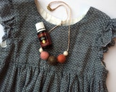 "18"" Kid's Necklace, wool felt balls, essential oil diffuser"