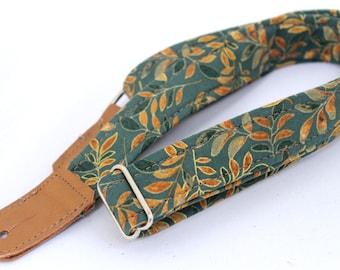 Sage Leaf Green Ukulele Strap with Leather Ends
