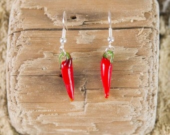 Red chilli pepper earrings, hot spicy glass jewellery, modern classic fun accessories