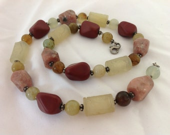 Vintage Carved Jade Chinese Multi stone  Beaded Sterling Necklace