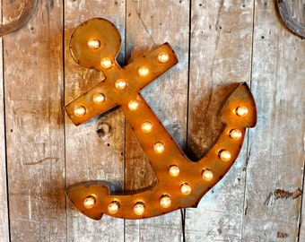 Anchor light sign Marquee boat sconce Rustic anchor Beach decor Ocean Beach Cottage lamp Primitive sconce