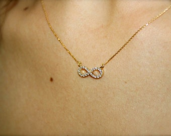 Infinity diamond necklace, 18k gold and VS-G diamonds infinity necklace, Engagement necklace, Wedding necklace, Anniversary love necklace